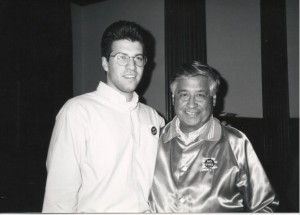 Randy Parraz with Cesar Chavez at Harvard University's John F. Kennedy School of Government in 1992