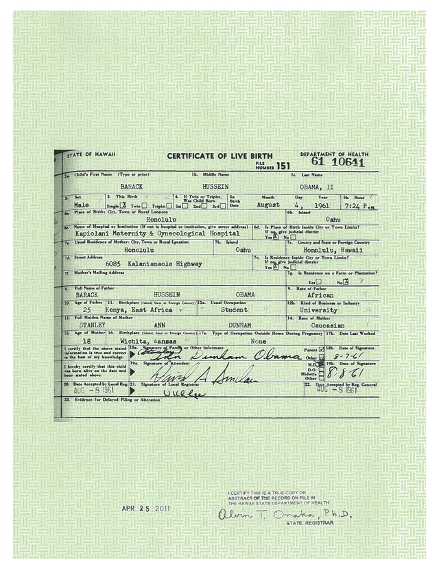 Investigator Hawaii Never Verified Obama Birth Certificate Image