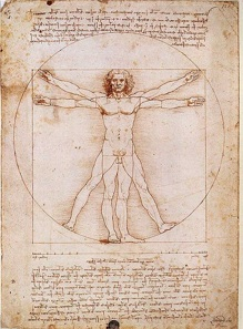 Leonardo da Vinci's Vitruvian Man (circa 1487) a symbol of Western civilization and Renaissance thought.