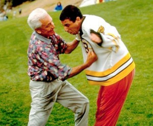 "Bob Barker pummels Adam Sandler in a famous scene from ""Happy Gilmore."""