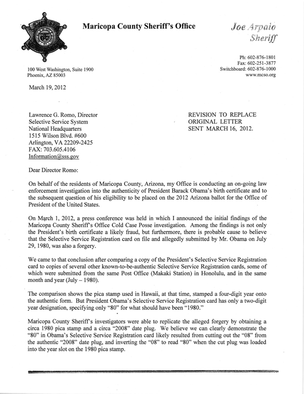 ... of Sheriff Arpaio's letter to the Selective Service System director