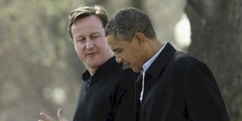 President Obama, right, speaks with British Prime Minister David Cameron