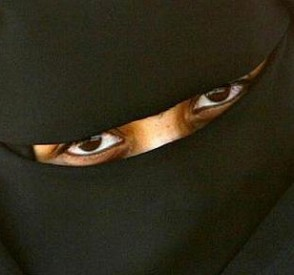 The Muslim burqa is a full veiling of the female body, leaving only the woman's eyes and feet visible.