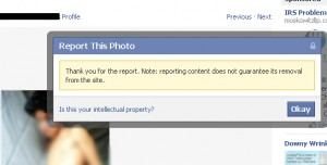 Facebook notice informs user that reported photos may not be removed from the site.