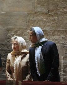 resident Obama  and Secretary of State Hillary Clinton tour the Sultan Hassan Mosque in Cairo, Egypt, in 2009.