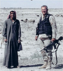 Dave Gaubatz with Iraqi tribesman near Nasiriyah, Iraq, in 2003