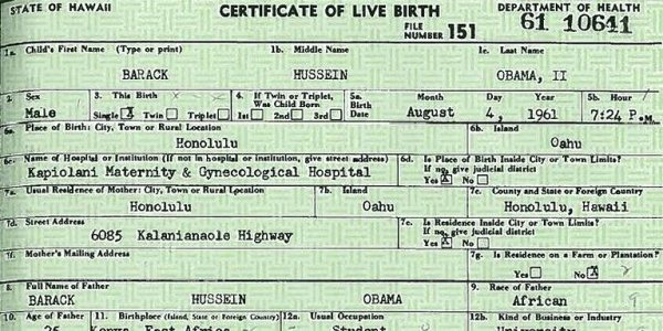 Obama birth thesis