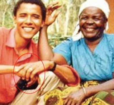 exhibit 4 close up of obama in africa with his grandmother sarah in 1987 - Obama Wedding Ring