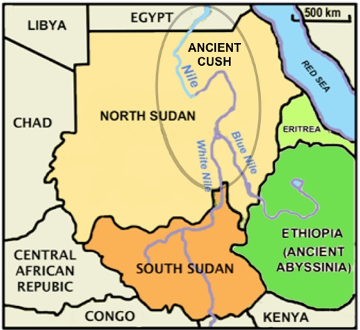 "Modern Day North Sudan, South Sudan, Ethiopia and surrounding nations. The grey oval around the three Nile rivers represents ancient Cush, which most Bibles translate as ""Ethiopia."" The Green nations of Ethiopia and Eritrea were called Abyssinia in ancient times and do not correlate to the biblical Cush."