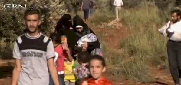Syrian refugees on the run, displaced by the 5-year-old civil war.