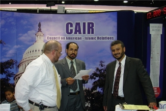 CAIR spokesman Ibrahim Hooper, left, and Executive Producer Nihad Awad, center (Courtesy Daily Caller)
