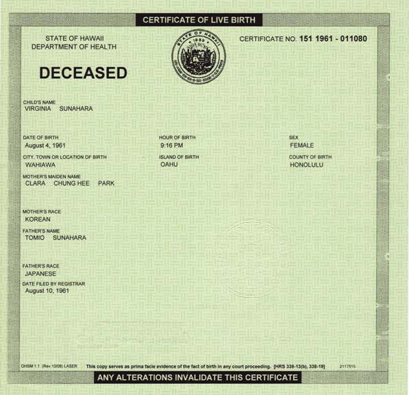 Arpaio investigator hawaii still covering up for obama virginia sunaharas short form birth certificate yadclub Image collections