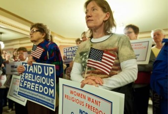 WOMEN JOIN RELIGIOUS FREEDOM RALLY IN WISCONSIN COURTHOUSE