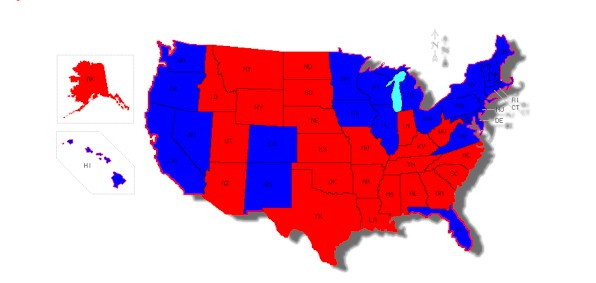 The electoral map from the 2012 presidential contest.