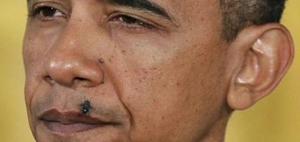 President Obama with a fly on his lip