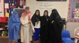 Female students dressed in burqas at NP3 High School in Sacramento.