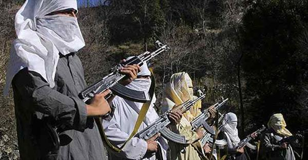 Taliban members wield their weapons.