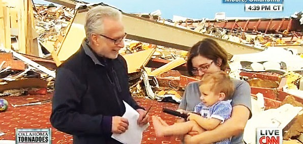 CNN's Wolf Blitzer asks Oklahoma tornado survivor and atheist Rebecca Vitsmun if she thanks the Lord.