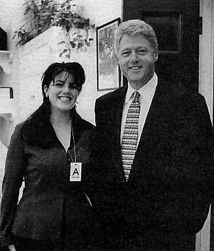 Then-President Bill Clinton poses with White House intern Monica Lewinsky