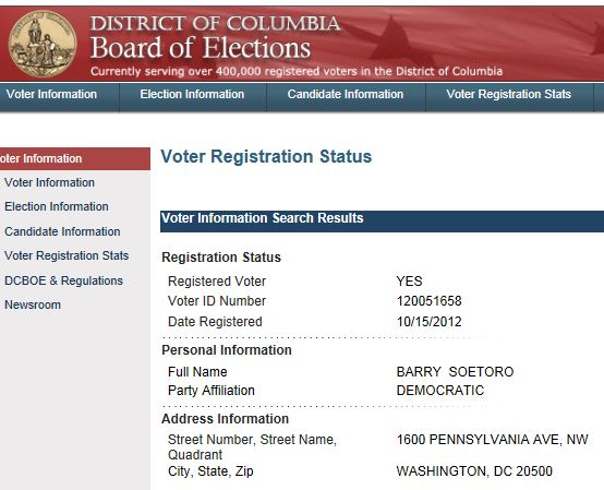 'Barry Soetoro' registered to vote in D.C.