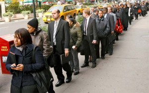 Unemployed workers look for jobs