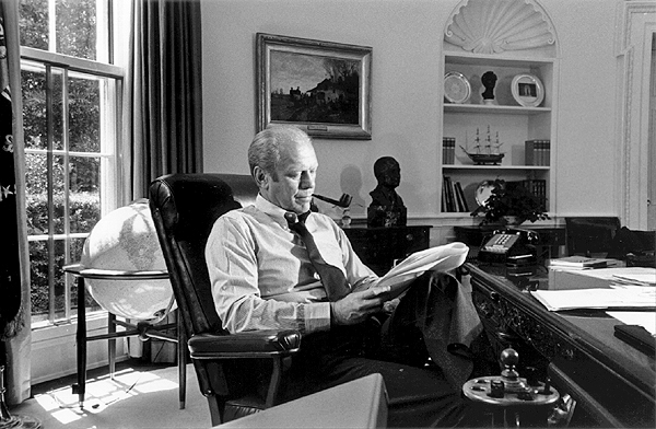 President Gerald Ford at work in the Oval Office, Aug. 12, 1976