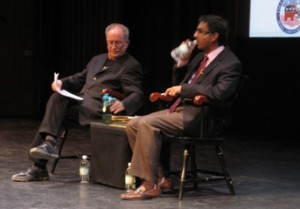 Bill Ayers and Dinesh D'Souza prepare to debate at Dartmouth