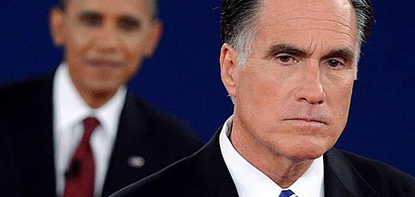 Mitt Romney appears dismayed in a 2012 debate with President Obama.