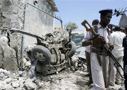 Aftermath of a suicide bombing in Somalia