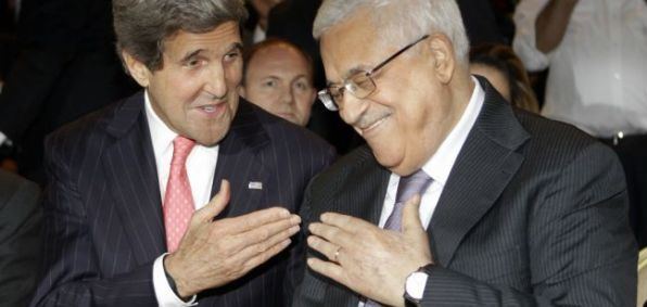Secretary of State John Kerry with Palestinian Authority President Mahmoud Abbas