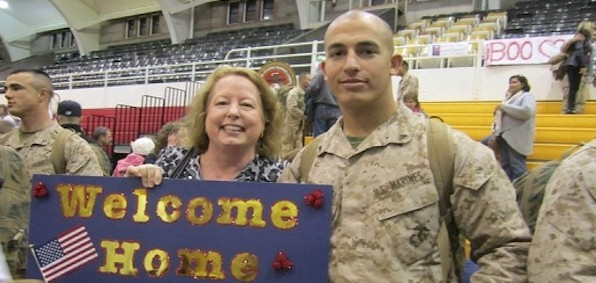 Marine Andrew Tahmooressi gets welcomed home from one of two tours in Afghanistan. He has been in a Mexican prison since March 31 on gun charges.
