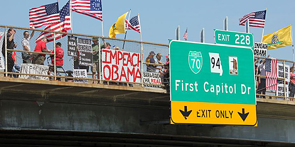 Overpasses for Obama's Impeachment, with Facebook pages for chapters in all 50 states and Washington, D.C., gained national attention after a rally in Southern California snagged traffic in early June.""