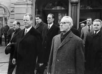 West German Chancellor Willy Brandt, foreground left, meets his East German counterpart for the first time.