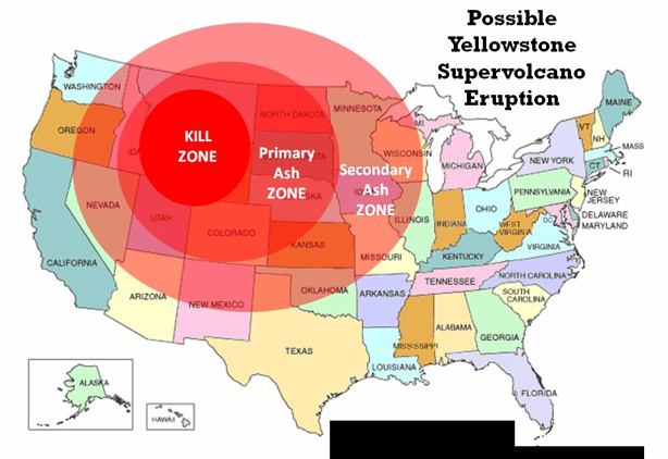 Yellowstone volcano kill zone