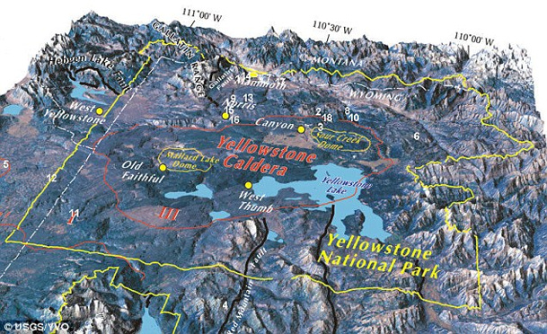 Map of Yellowstone caldera