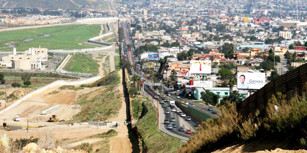 U.S.-Mexico border between San Diego, California (left), and Tijuana, Mexico (right)