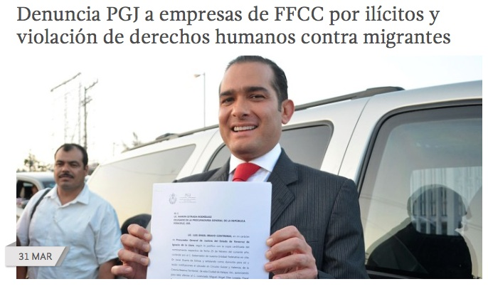 Luis Ángel Bravo Contreras, the attorney general of the state of Veracruz, Mexico, displays criminal charges filed with the Attorney General of the Republic of Mexico, PGR, March 31, 2014 Source: Veracruz Government Website