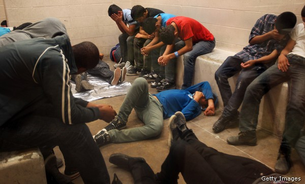 Illegals being processed at the McAllen Border Patrol Station in Texas last year.