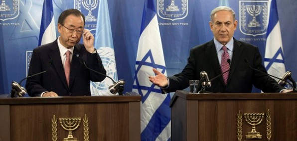 United Nations Secretary-General Ban Ki-moon, left, and Israeli Prime Minister Benjamin Netanyahu at a joint news conference in Tel Aviv, Israel, July 22