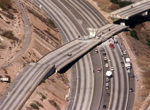 A section of the California state route 14 overpass collapsed on Interstate 5, north of Los Angeles, in the 1994 Northridge quake.