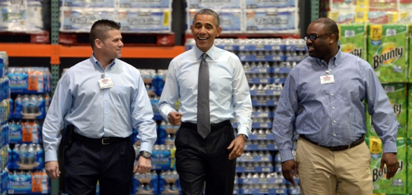 President Obama visiting a Maryland Costco store in January.