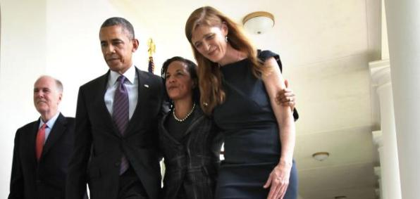 President Obama with  senior adviser Valerie Jarrett and U.N. ambassador Stephanie Power