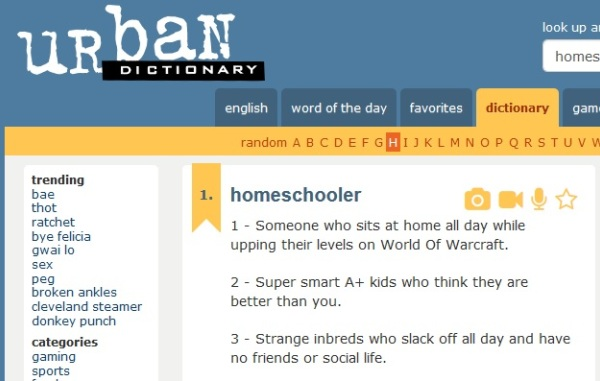 "Screenshot for UrbanDictionary.com entry for ""homeschooler"""