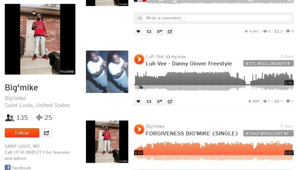 Screen shot of Michael Brown's SoundCloud page