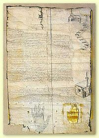 Achtiname of Muhammad, or protection letter to St Catherine's Monastery, Egypt 626 A.D.