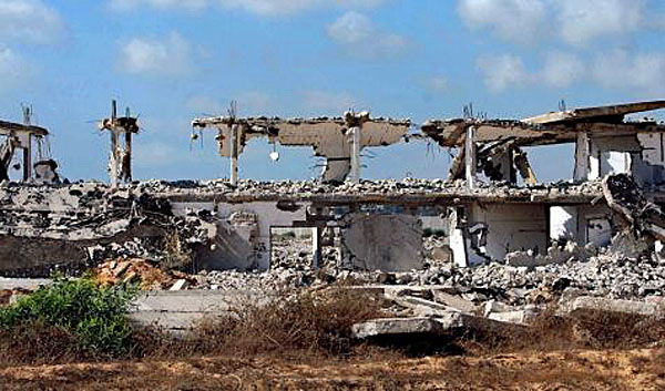 A Gush Katif settlement after it was razed by the Israeli government.