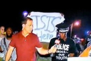ISIS support banner at rally in Ferguson, Missouri. in 2014.