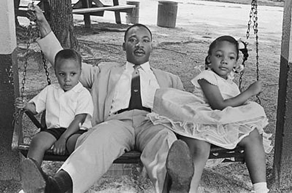 MLK with two of his children: Martin III and Yolanda. (Photo by Marvin Koner/Corbis)