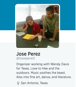 Jose Perez with Wendy Davis volunteer in San Antonio, Texas