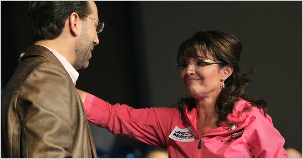 U.S. Senate candidate Joe Miller and Sarah Palin